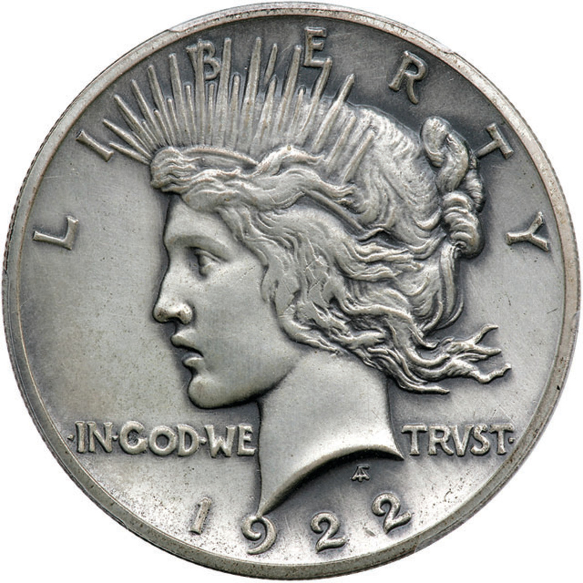 Obverse of the PCGS Proof-64 1922 matte proof high relief Peace dollar