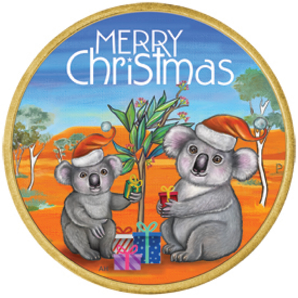 Two festive but dinkum Aussie Koalas exchange gifts under a gum tree on the colored reverse of this Australian aluminum-bronze dollar. It is available as part of an Australia Post PNC. (Image courtesy The Perth Mint & Australia Post)