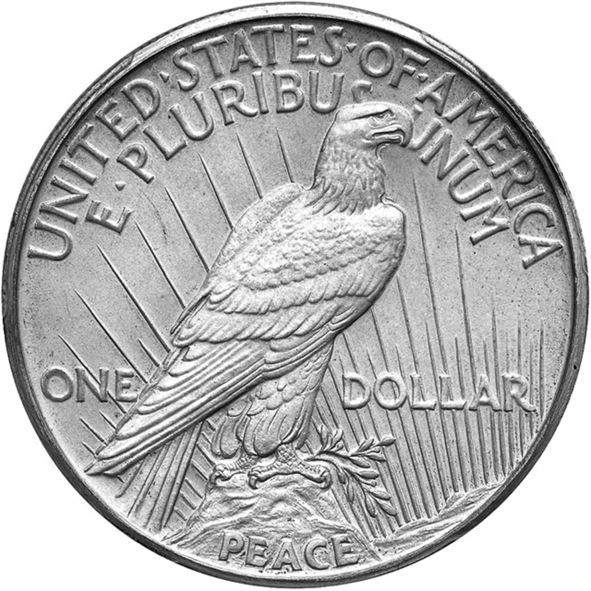 Reverse of the PCGS Proof-67 CAC 1922 matte proof high relief Peace dollar
