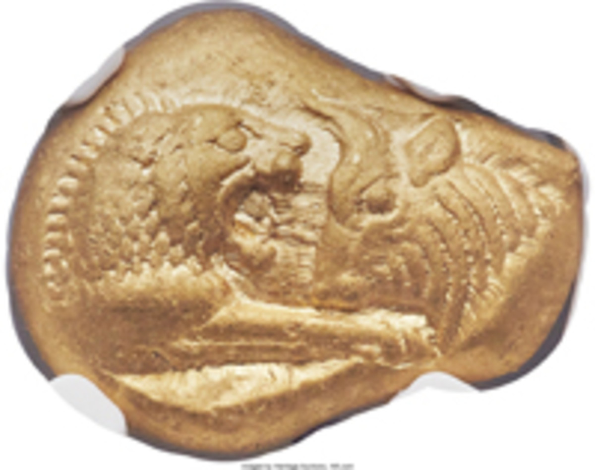 Choice example of world's first gold coinage: $129,250 was paid for this Lydian stater of CroesusI. (Image courtesy and © www.ha.com)