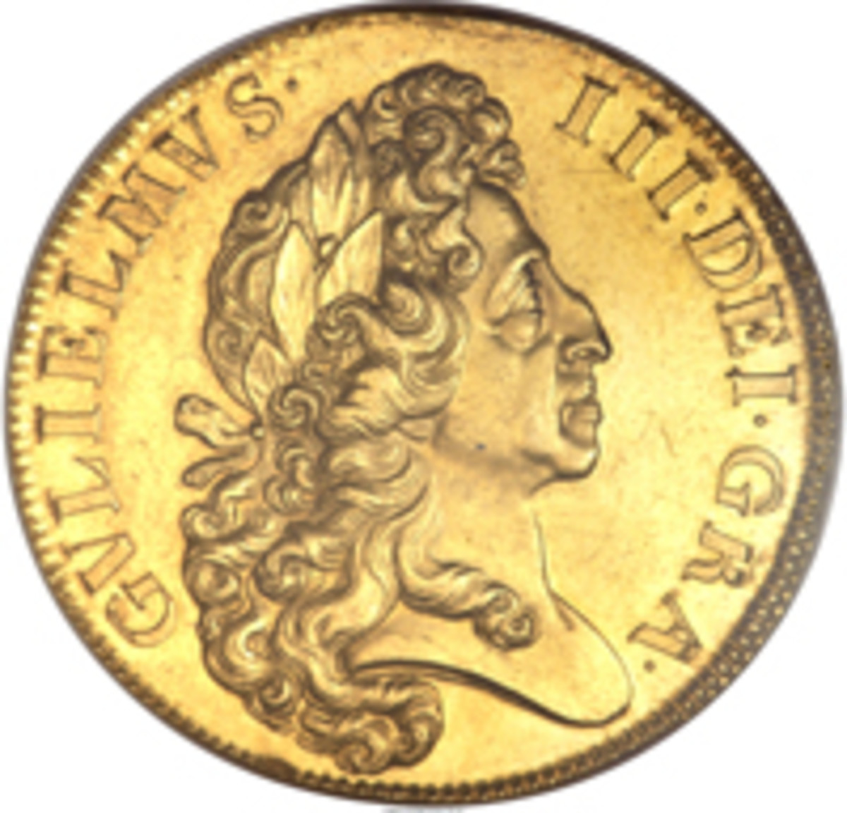 William III 5 guineas of 1701, KM-508, S-3456, which made an easy $188,000 in MS-64 NGC. (Image courtesy and © www.ha.com)