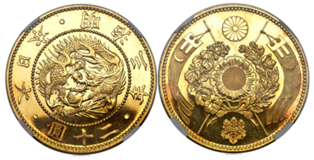 Top selling Meiji gold 20 yen, KM-Y13, which realized $470,000 in Proof-66 Cameo NGC. (Images courtesy and © www.ha.com)
