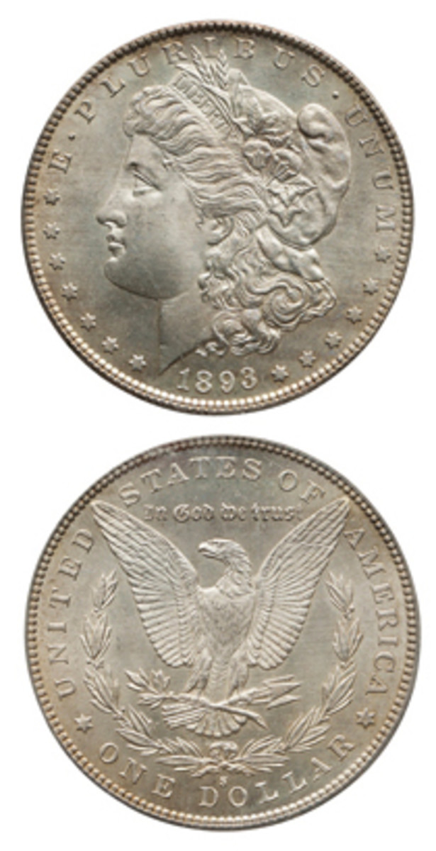 Also carrying a $300,000-$500,000 pre-sale estimate is this 1893-S graded PCGS MS-65.