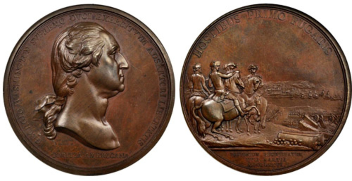 """The """"1776"""" (1790) Washington Before Boston Medal, Original, Bronze, 68.1 mm, Baker-47B, Julian MI-1. Rariey-6, Plain Edge, PCGS graded MS66 BN., which sold for $38,775 in 2016. (Images courtesy Stack's Bowers.)"""