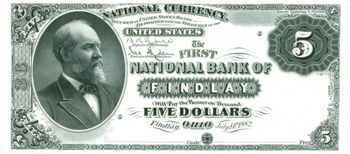 Knox had the date of extension placed on the first plates for extended banks, a policy that was inconsistent with the use of dates of charter for plates made for new banks. The first extended bank was Findlay, Ohio, charter 36.