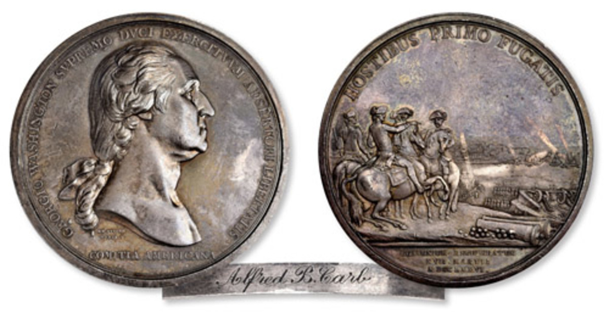 """The """"1776"""" (1790) Washington Before Boston Medal, Silver, 68mm, Musante GW-09-P1, Baker-47, Adams & Bentley-3, Betts-542, Julian MI-1, PCGS graded Specimen-61. This is """"one of just five in private hands."""" (Images courtesy Stack's Bowers.)"""