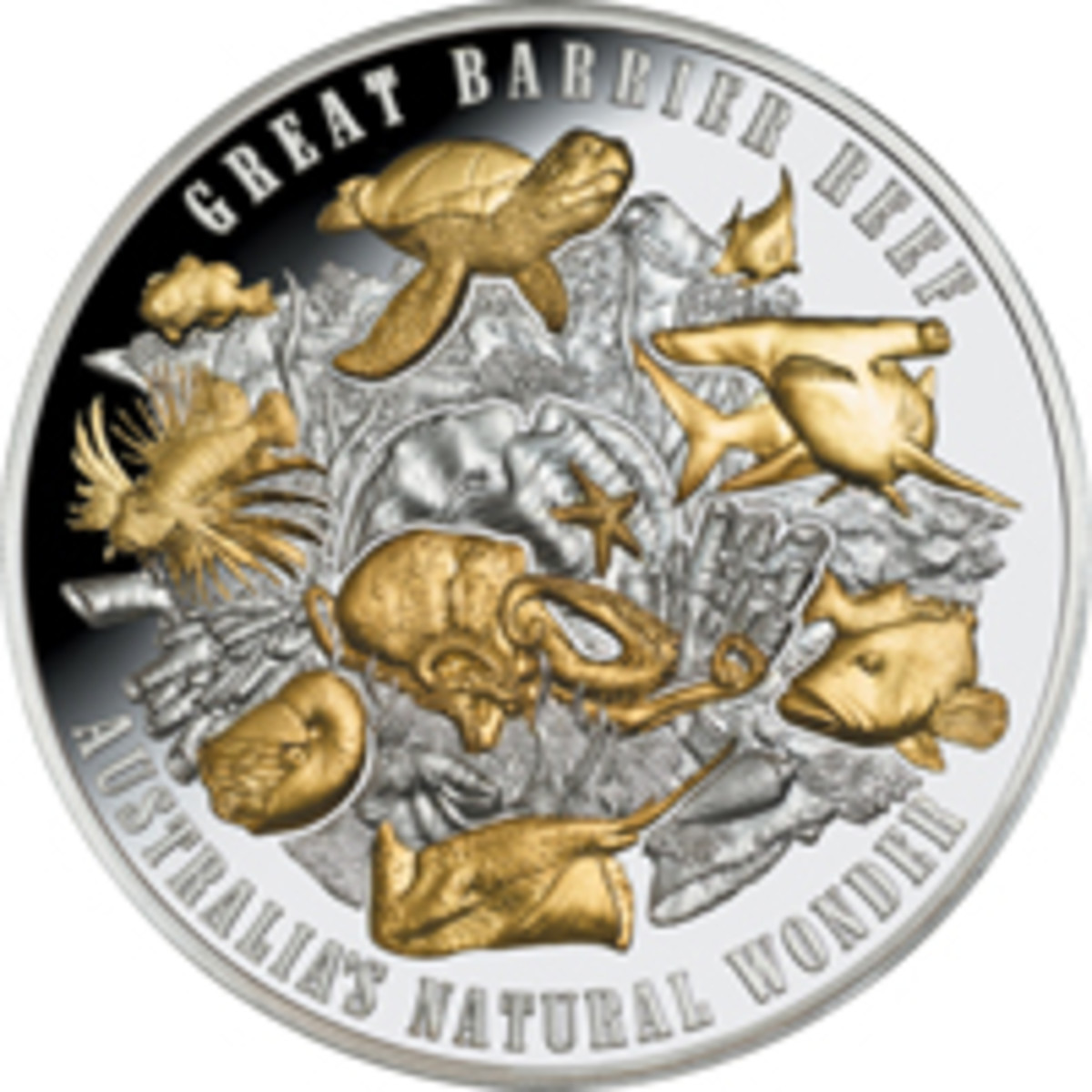 Reverse of Niue's spectacular 65 mm, 5 oz silver high-relief $10 that celebrates the Great Barrier Reef. (Image courtesy Downies)