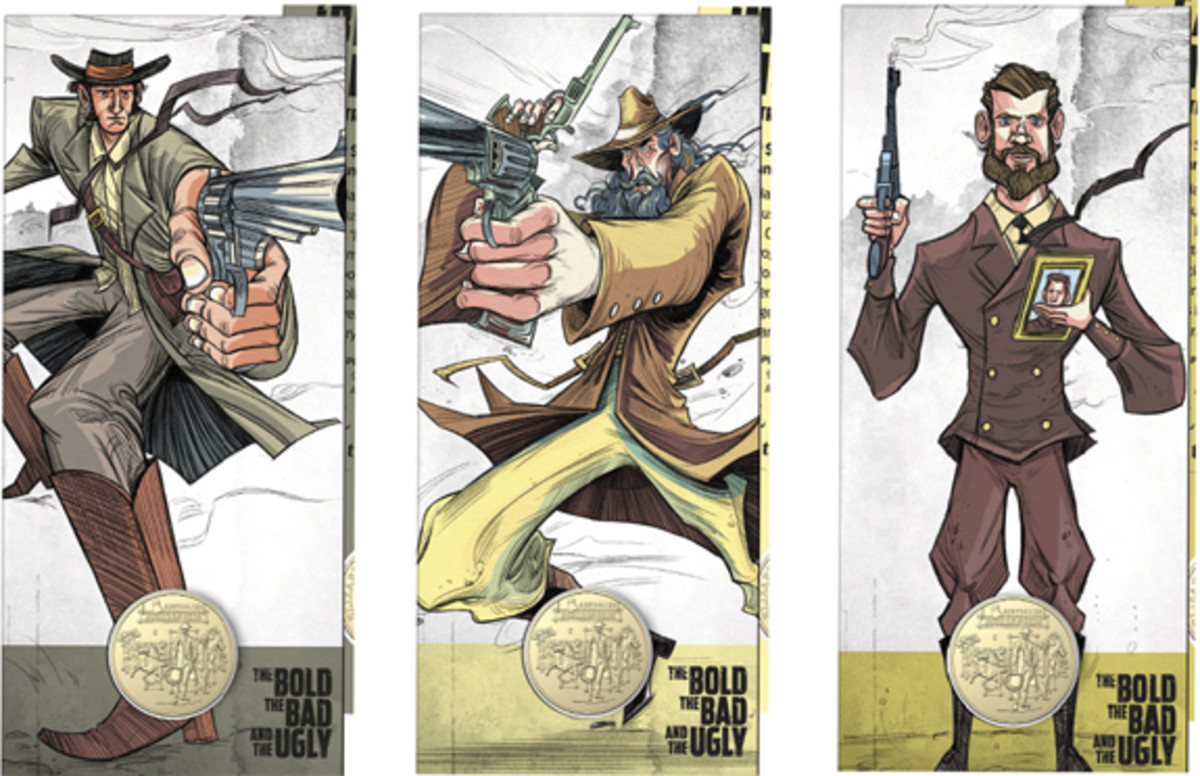 """Three of the bold, bad, and ugly who figure on the six blister cards that hold the counterstamped bushranger dollars: from left, Ben Hall, """"Mad Dog"""" Morgan, and Captain Moonlite. Rounding out the set are the Kenniff Brothers, Moondyne Joe, and Captain Thunderbolt & the Captain's Lady. (Images courtesy & © RAM)"""