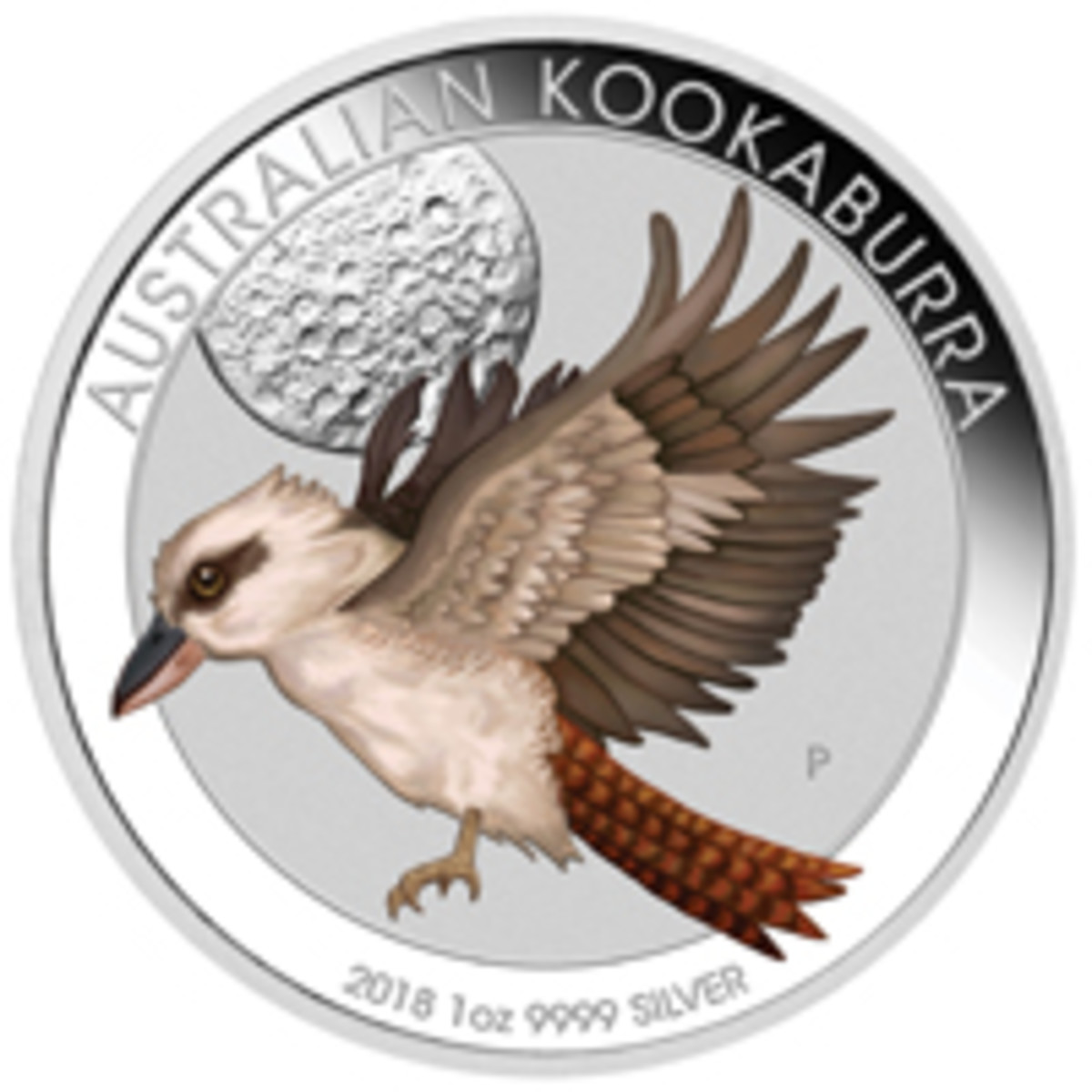 Partially colored silver proof Australian dollar showing a Kookaburra flying across the cratered Moon; The Perth Mint's contribution to the Berlin WMF. (Image courtesy The Perth Mint)
