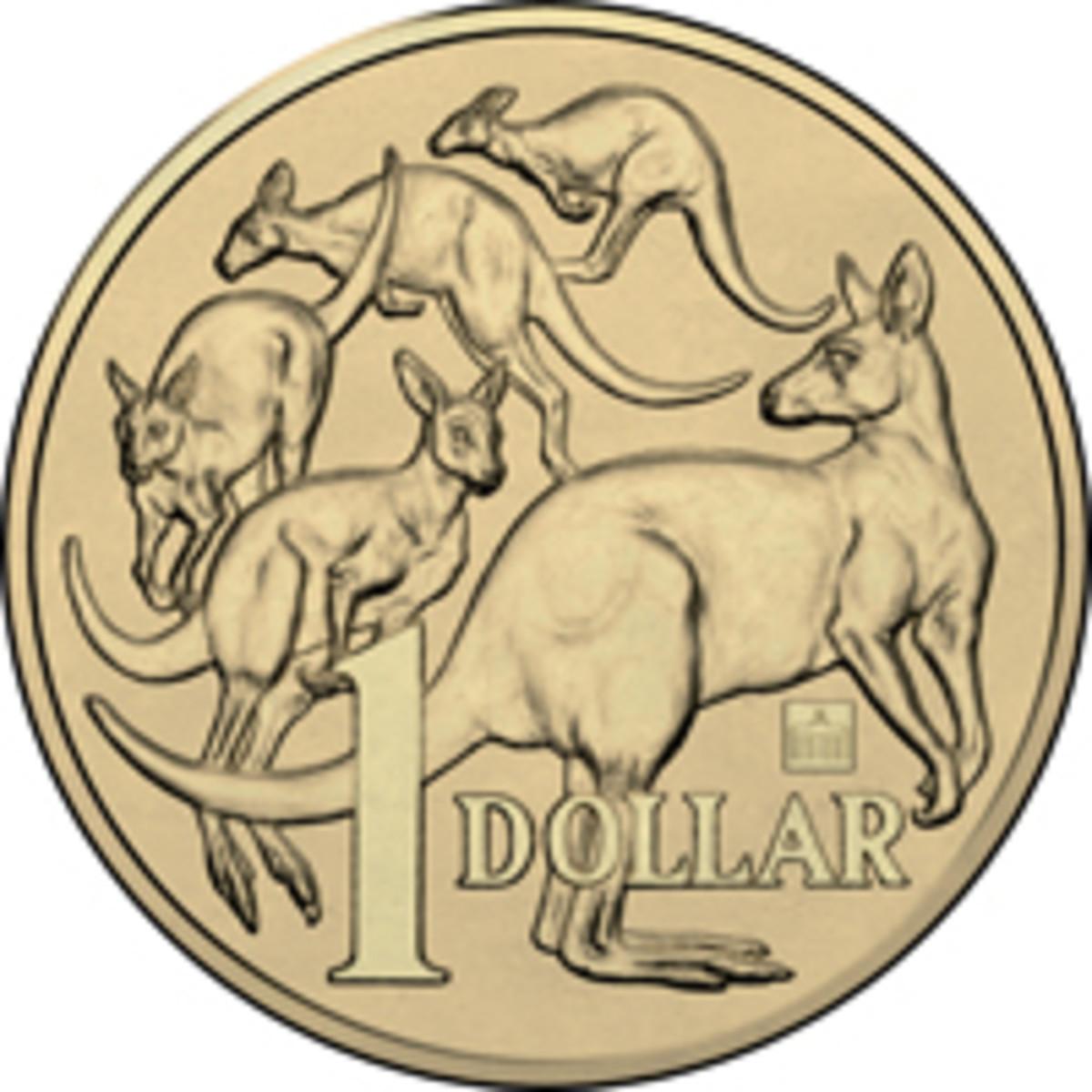 Australian aluminum-bronze dollars privy-marked with the Brandenburg Gate. (Image courtesy Downies)