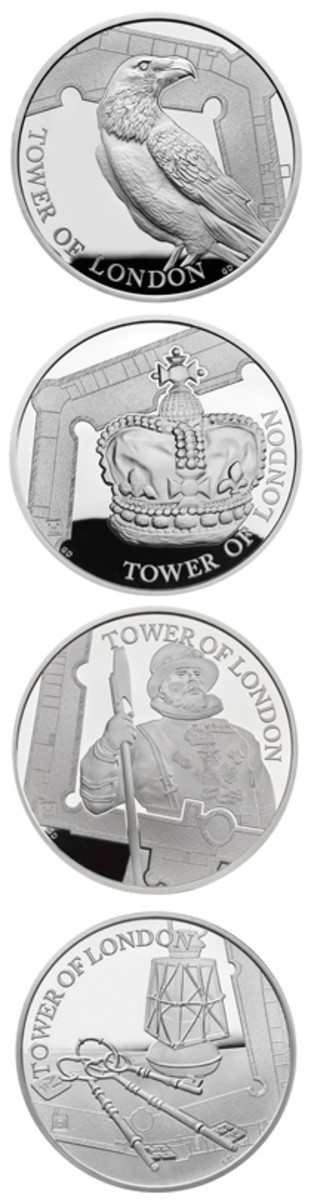 """Britain's new one-ounce silver proof £5s celebrating aspects of the historic Tower of London. From top: Legend of the Ravens, the Crown Jewels, Yeoman Warders, and the Ceremony of the Keys. Note the Tower """"mintmark"""" towards the left or right base of the design. (Images courtesy and © The Royal Mint)"""
