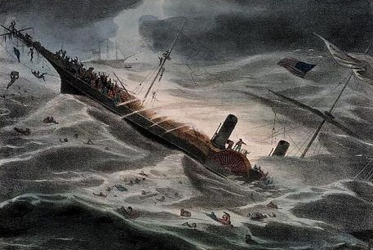 Artist J. Childs depiction of the sinking of the SS Central America (National Maritime Museum, London)