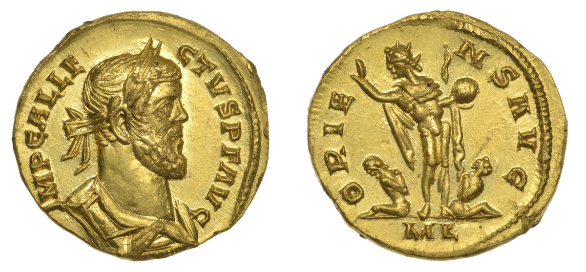 The rare gold aureus of Allectus, Emperor of Britain CE 293-296, that sold for $701,648 in DNW's June sale, a record price for any Roman coin struck in Britain. (Images courtesy and © Dix Noonan Webb)