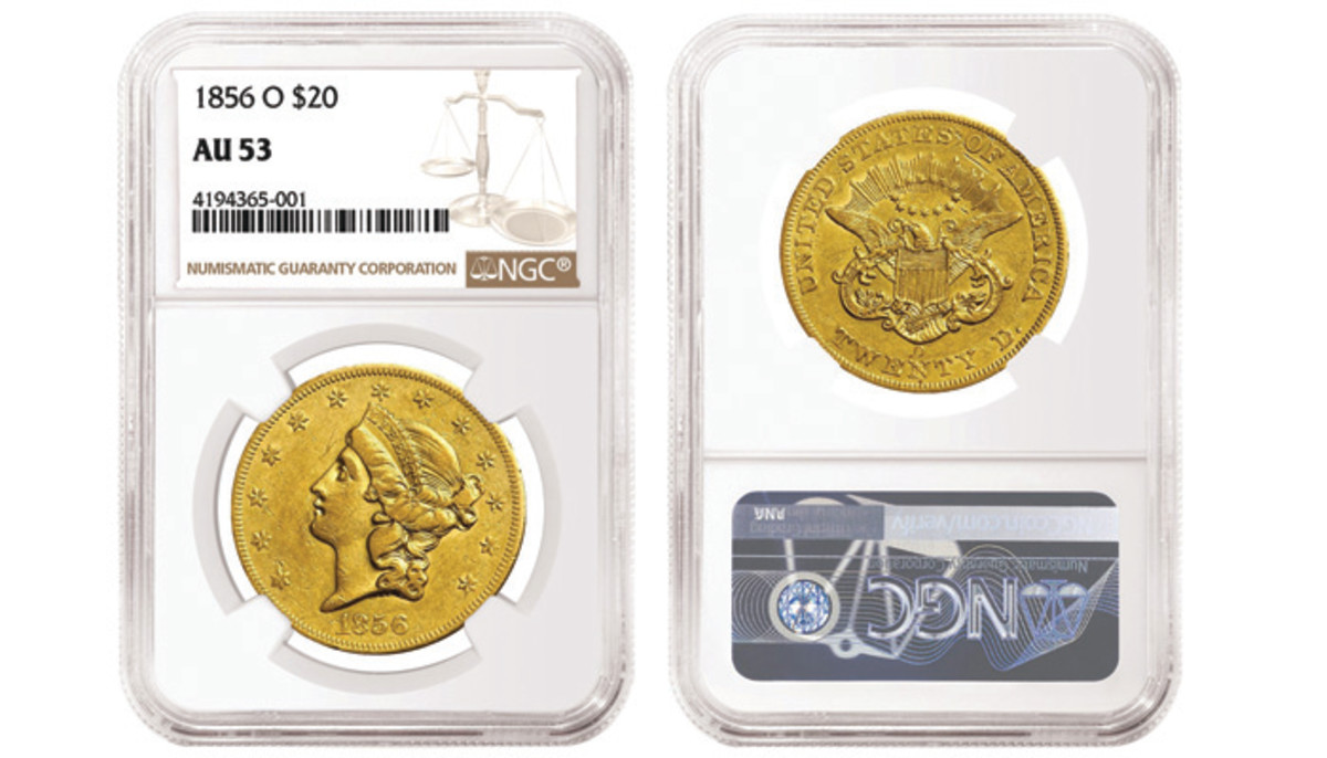 1856-O double eagle. Images courtesy of NGC.