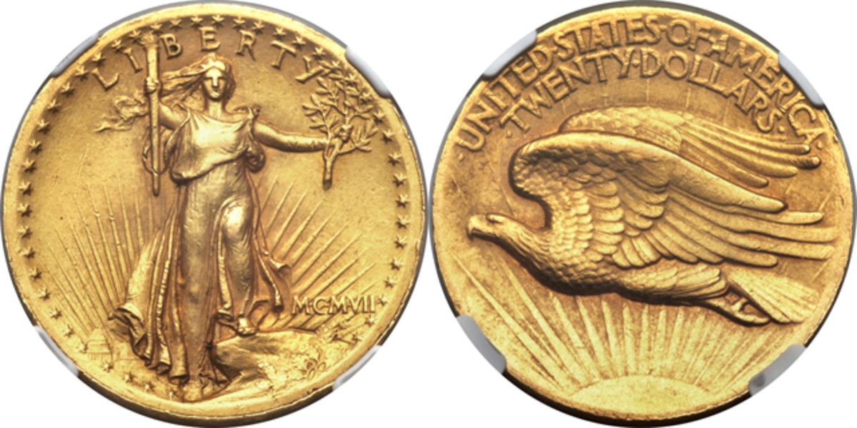 The MS-60 1907 High Relief Wire Rim Saint Gaudens $20 gold coin Conway won.