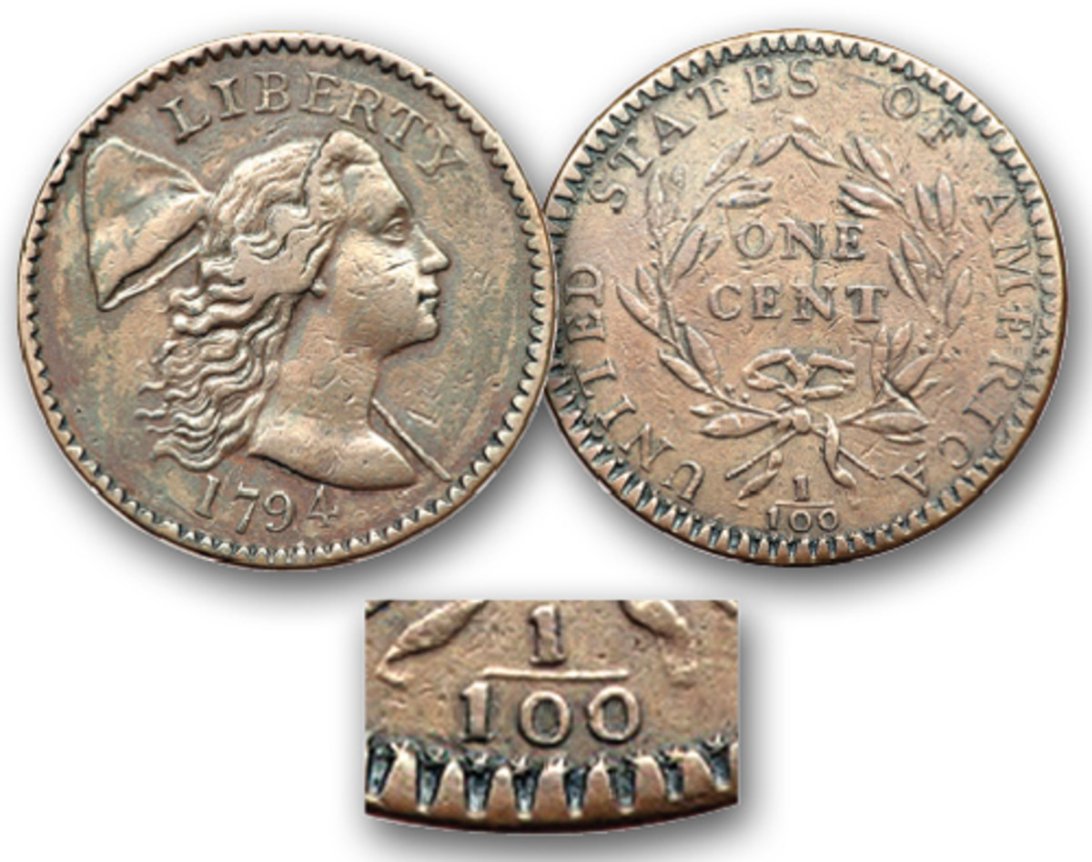 The famous 1794 Starred Reverse cent.