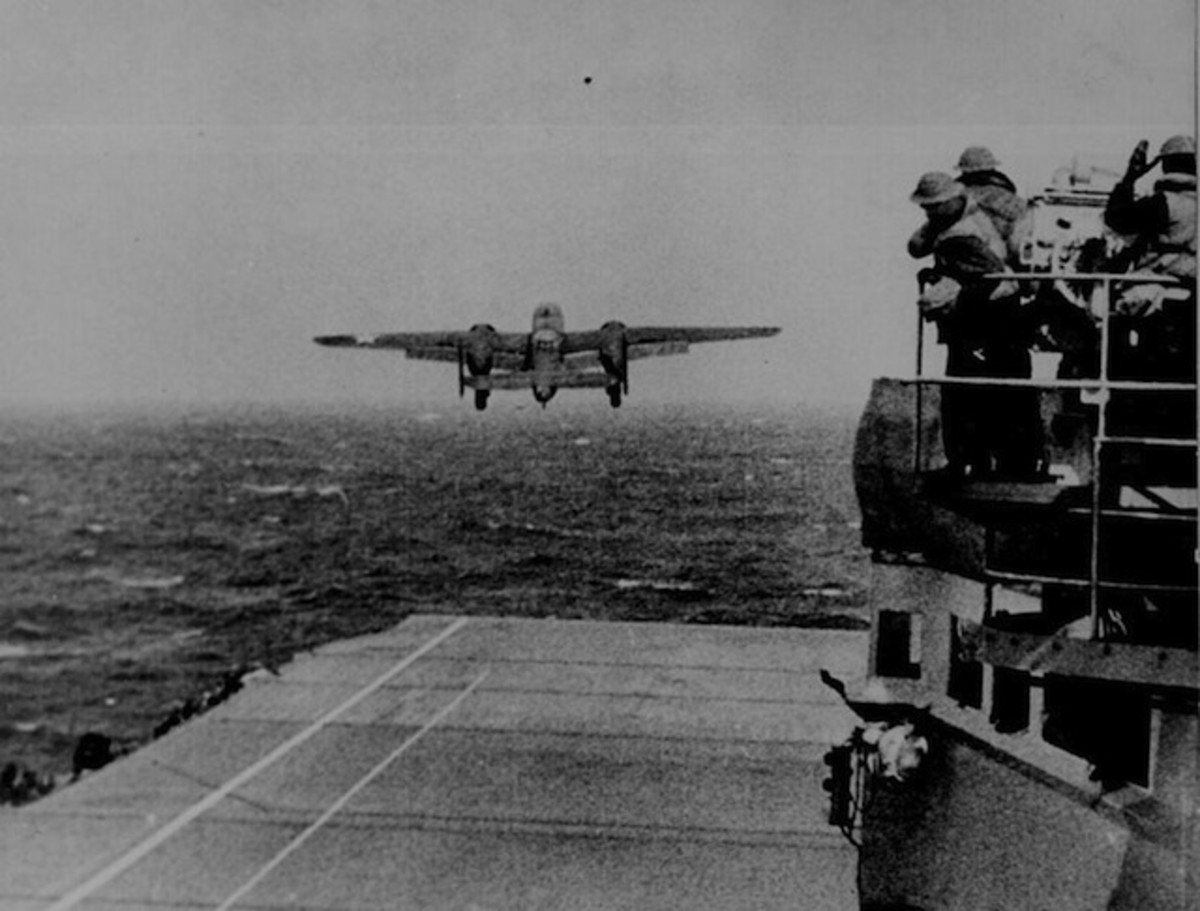 A B-25 bomber in the Doolittle Raid takes off from the deck of the USS Hornet