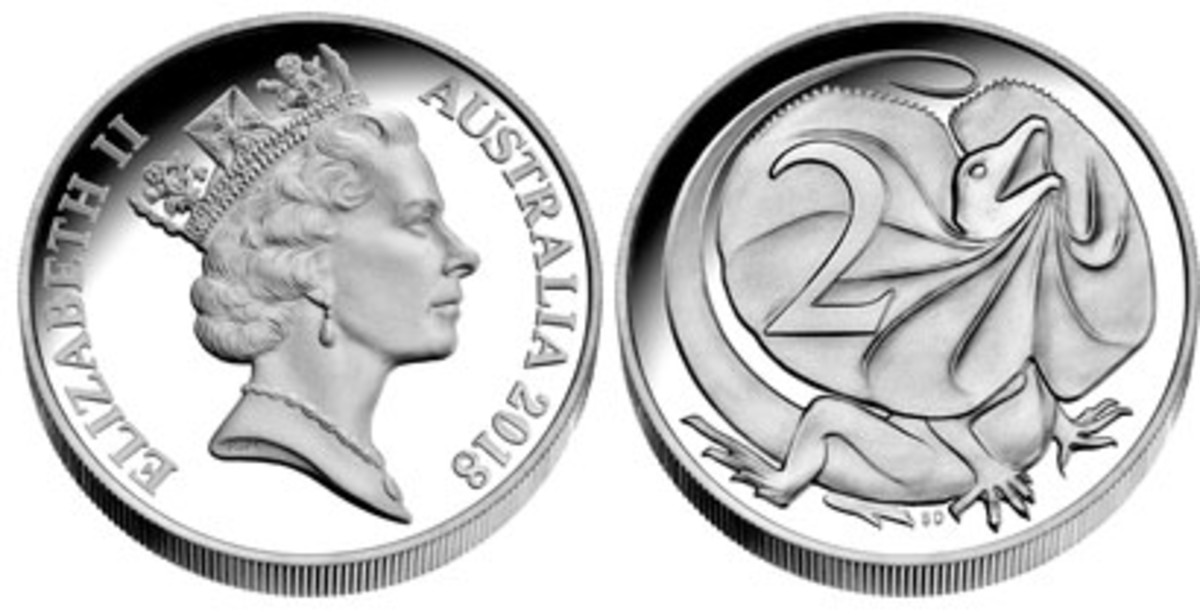 Undenominated one-once silver high-relief piece that reproduces the design of Australia's discontinued Frilled-necked Lizard two cents. (Image courtesy Downies)