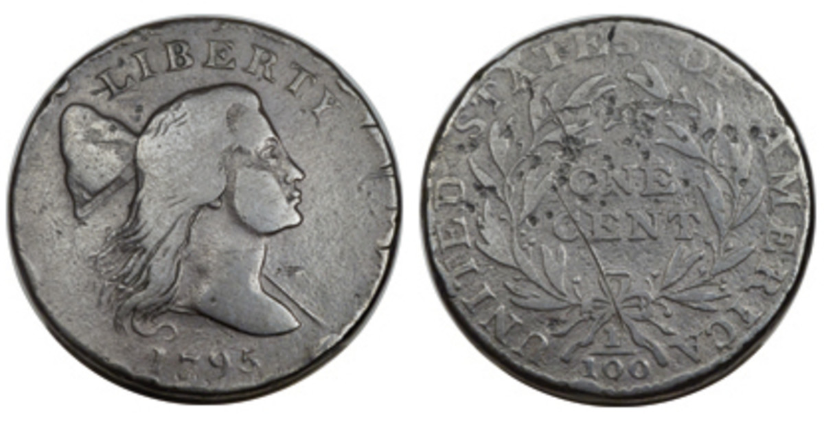 A VG-7 1795 S-80 Liberty Cap cent with bisecting crack is among the Padula Collection offerings.
