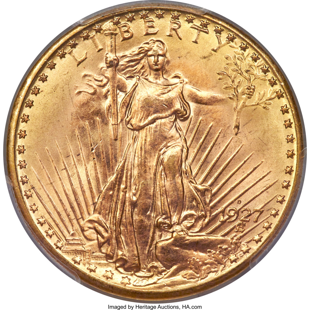 The 1927-D Saint-Gaudens double eagle. (Images courtesy Heritage Auctions.)