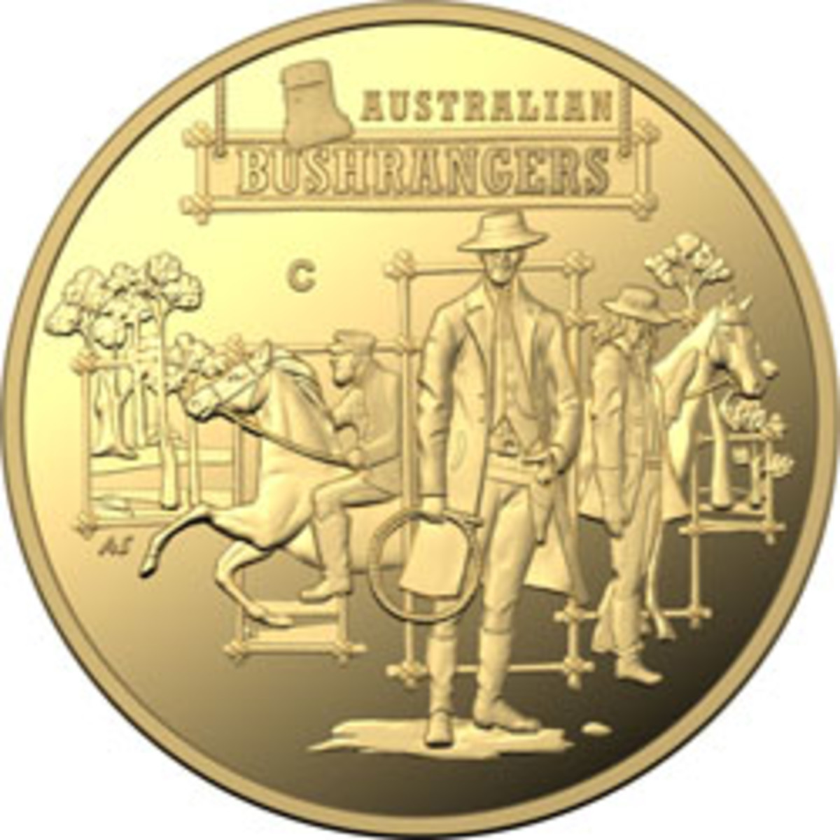 """Reverse design of this year's Bushrangers' gold $25 as well as silver and aluminum-bronze dollars. All images show the """"C"""" mintmark. (Images courtesy & © RAM)"""