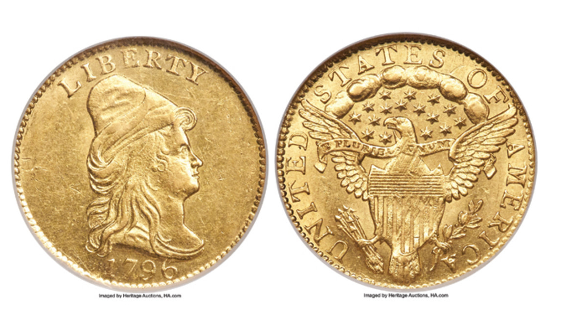 Sure to garner much attention is a 1796 quarter eagle with No Stars obverse, graded MS-63 by NGC.