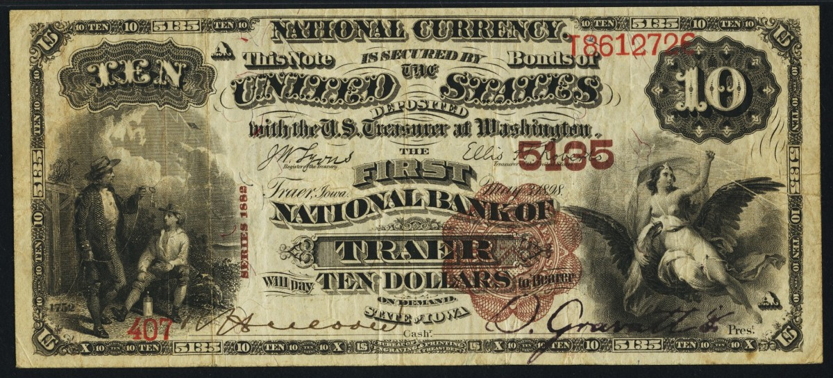 Here is a lovely Series of 1882 $10 Brown Back note issued by the First National Bank of Traer. Although in general notes, both large and small size, are available from this bank, early notes such as Brown Backs are very scarce. (Photo courtesy Heritage Auctions)
