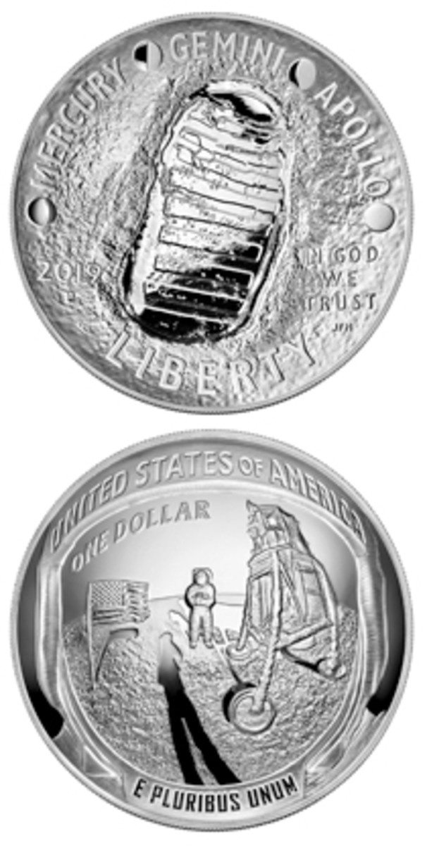 A 2019 Apollo 11 50th Anniversary five-ounce proof silver dollar will be awarded as the grand prize during a National Coin Week contest sponsored by the American Numismatic Association. Currently unavailable for purchase at the Mint's website, the coin was offered for $229.95.