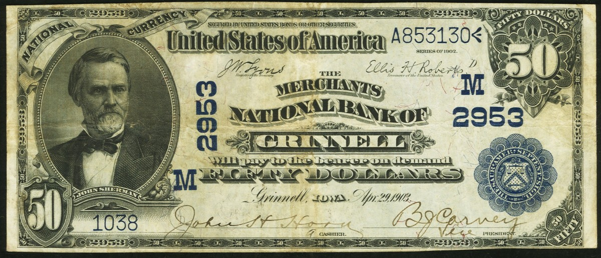 The Merchant's National Bank of Grinnell elected to issue nothing but $50 and $100 notes during its lifetime. Here is a Series of 1902 $50 note issued by the bank.(Photo courtesy Heritage Auctions)