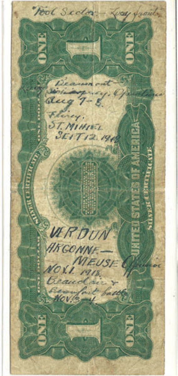 The back of this Series of 1899 $1 Black Eagle shows the many actions that this American soldier was in, staring with Beaumont in August 1918 and ending just a week before the armistice that ended the fighting.