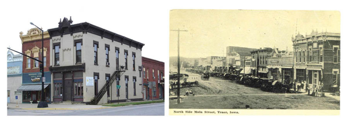 Left: Here is the First National Bank of Traer, Iowa, building as it appears today in town. It has changed very little from the 1900 photo. Right: The First National Bank of Traer, Iowa, can be seen at the corner foreground in this 1900 photo postcard view of the town's Main Street. The building has been lovingly restored and looks very much the same today.