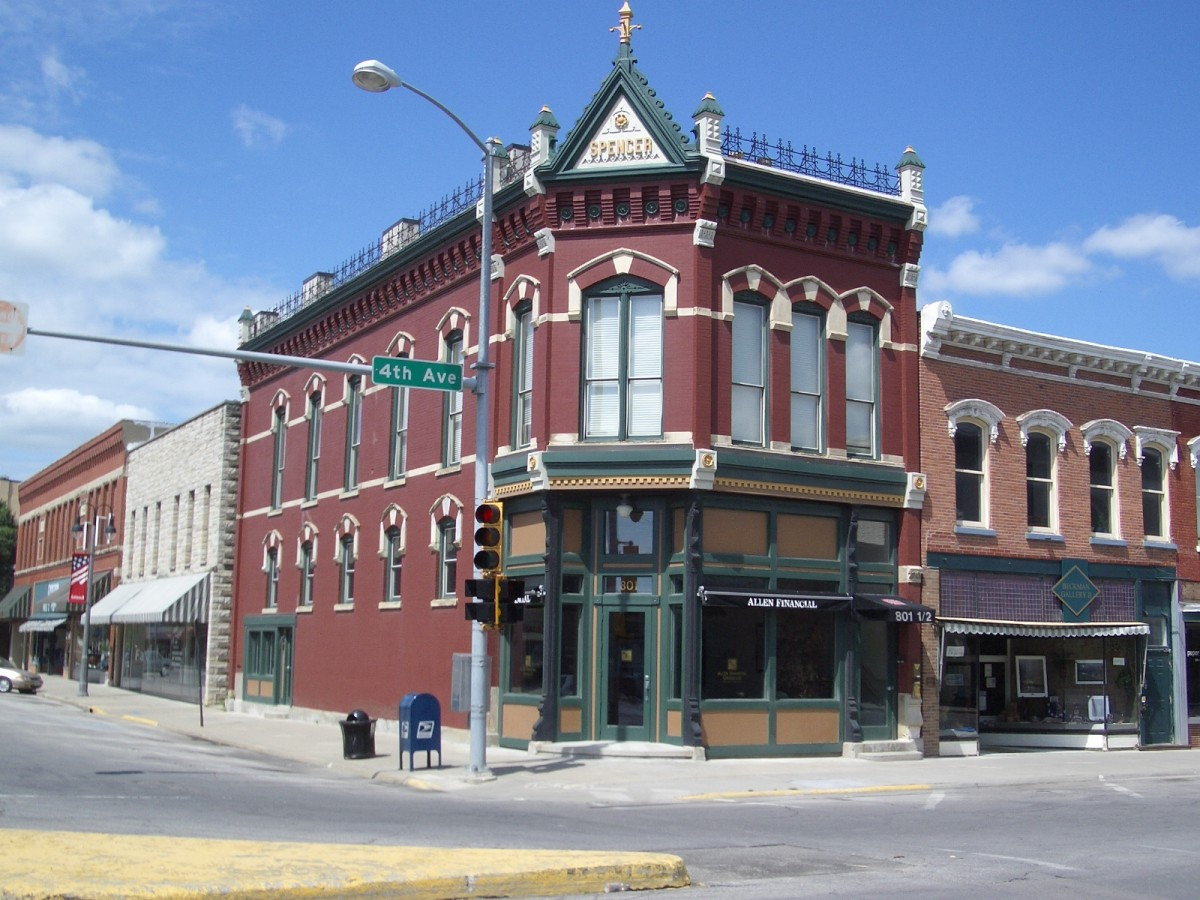 The First National Bank of Grinnell, Iowa, was founded in 1866 and was housed in this beautifully preserved building, now on the National Register of Historic Places.