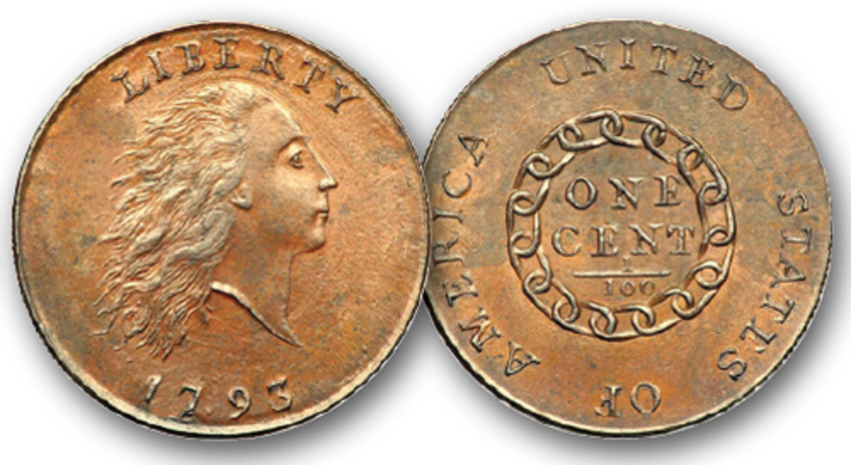1793 Chain cent with AMERICA spelled out.