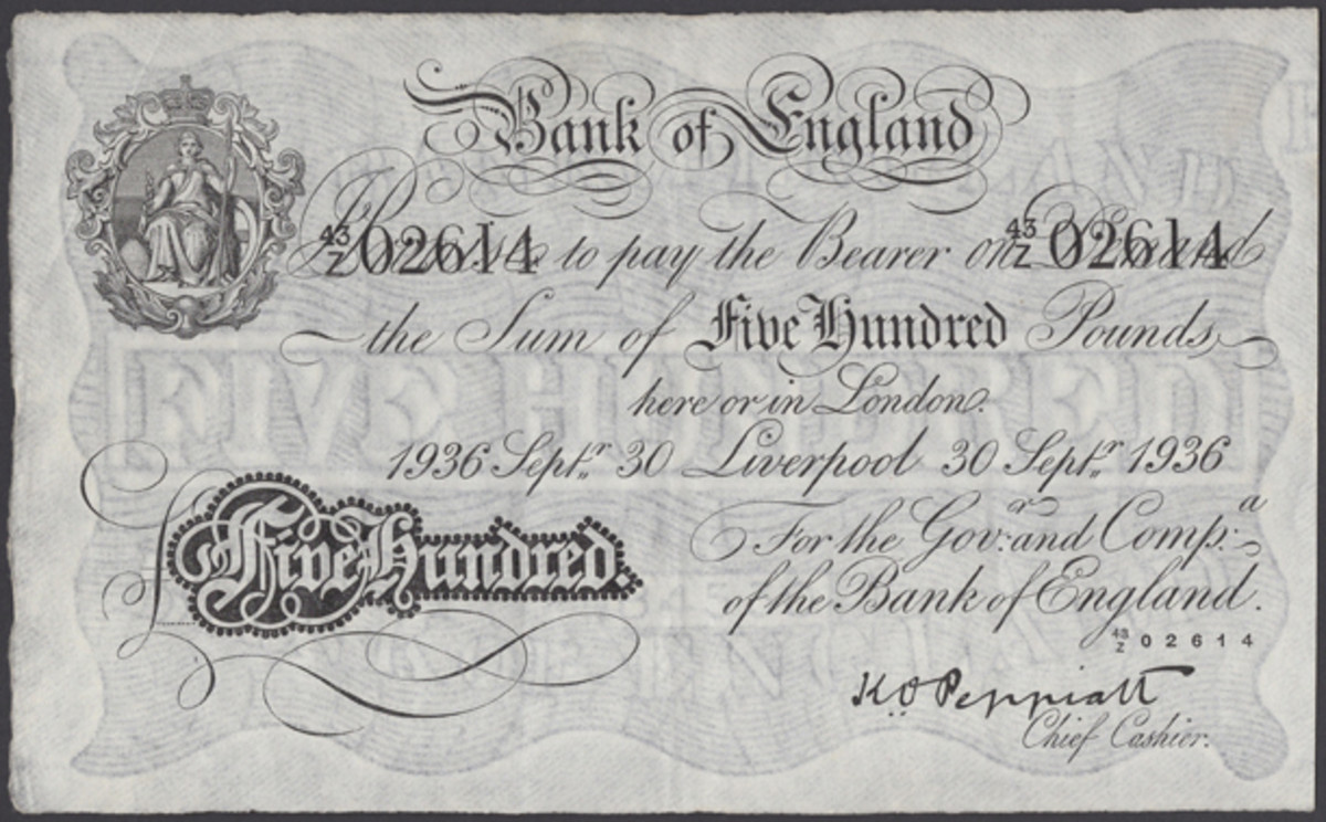 Collection highlight: the rare £500 of 30 September 1936 signed by Kenneth O. Peppiatt and issued at Liverpool (EPM B246e; cf. P-340) that realized $15,720 in gVF. (Image courtesy of DNW.)