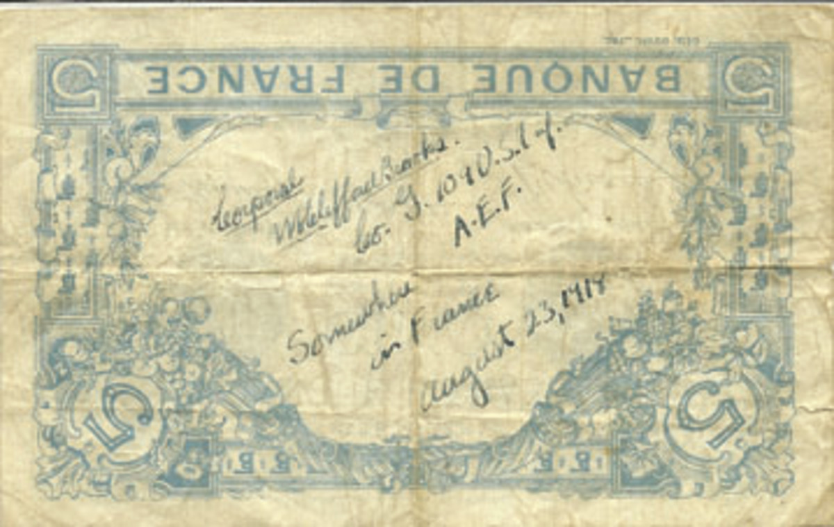 "This French five-franc note issued in 1916 was inscribed by Corp. Brooks ""somewhere in France."""