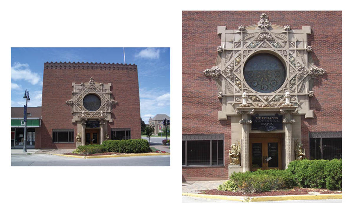 The original Merchant's National Bank building still stands in Grinnell, as can be seen in this current photo. By 1910, the bank had outgrown this space and commissioned a new building to be designed by famed architect Louis H. Sullivan. Right: Here is a close up of the keyhole motif on the facade of the Sullivan-designed Merchant's National Bank building. It is a must see in Grinnell.