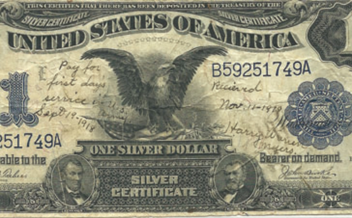 Another Black Eagle $1 note inscription indicates that it was the first pay received by Soldier Myers, interestingly paid out on the day of the Armistice.