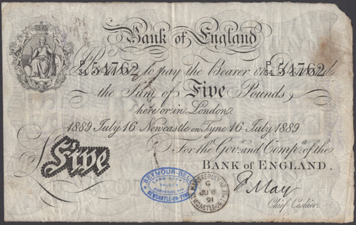 BoE white fiver signed by disgraced Frank May. Drawn on Newcastle and dated 16 July 1889 (P-286; EPM B206a). It achieved a modest $13,755 in aVF. (Image courtesy of DNW.)