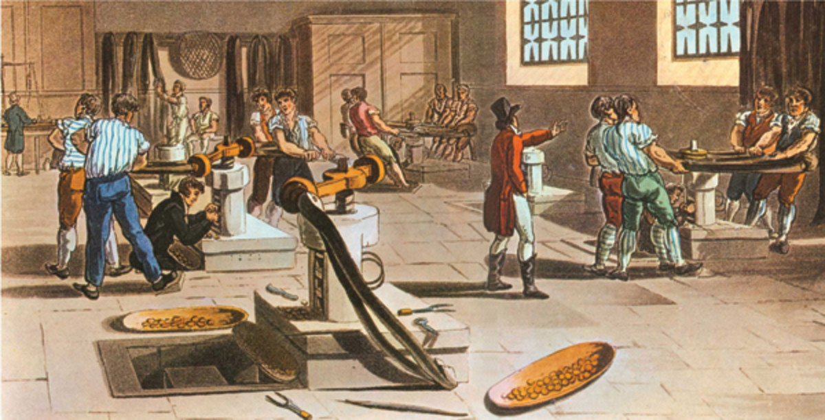 Coining room in the London Mint, as it appeared in the 1790s. There were two kinds of screw presses, the lever press (on the left) and the wheel press (on the right). Both kinds of presses were in use at the Philadelphia Mint.