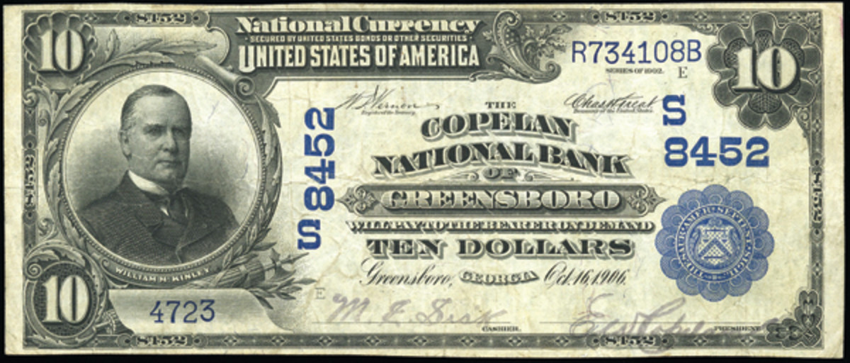 Edward A. Copelan founded the Bank of Greensboro, which he converted to national status in 1906, naming the bank for himself. Here is a large note issued by that bank, with his signature as president.