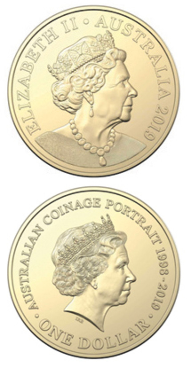 A new portrait of Queen Elizabeth II (top) appears with the design now being phased out (bottom) on a new Australian dollar coin.