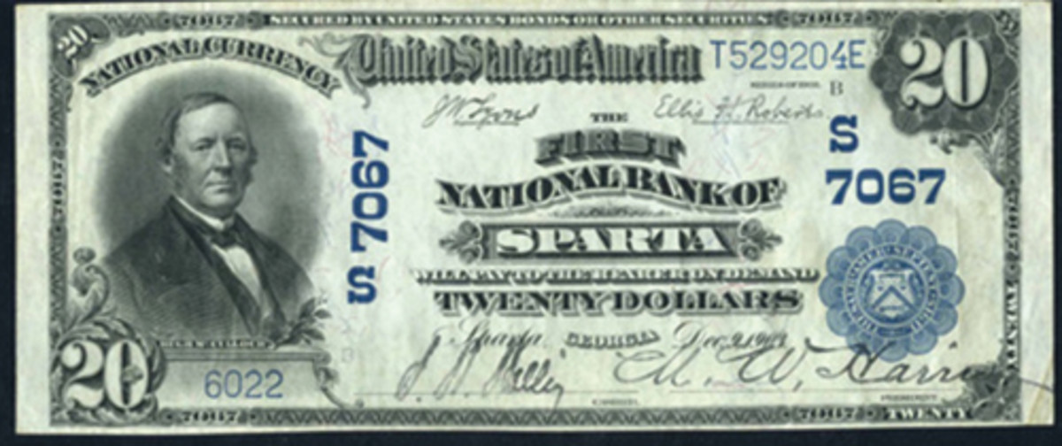 Here is a rare large size note issued by the First National Bank of Sparta, Georgia, prior to its liquidation in 1923. Notes from this bank are very rare. (Photo courtesy Heritage Auctions.)