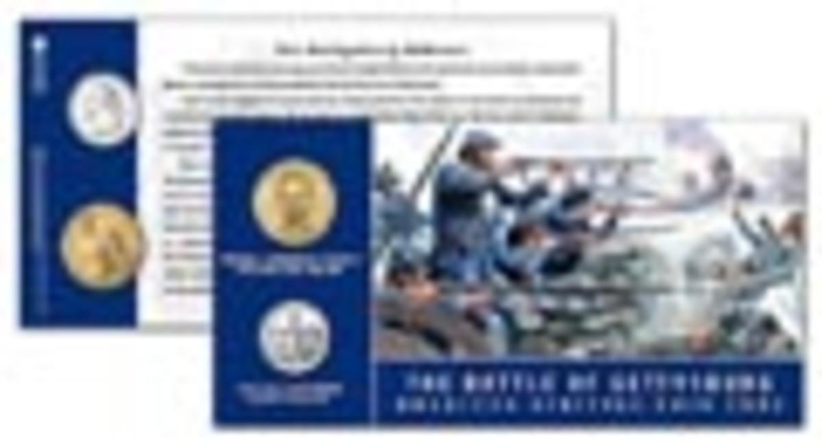 Gettysburg Quarter Dollar and Dollar Coin Card