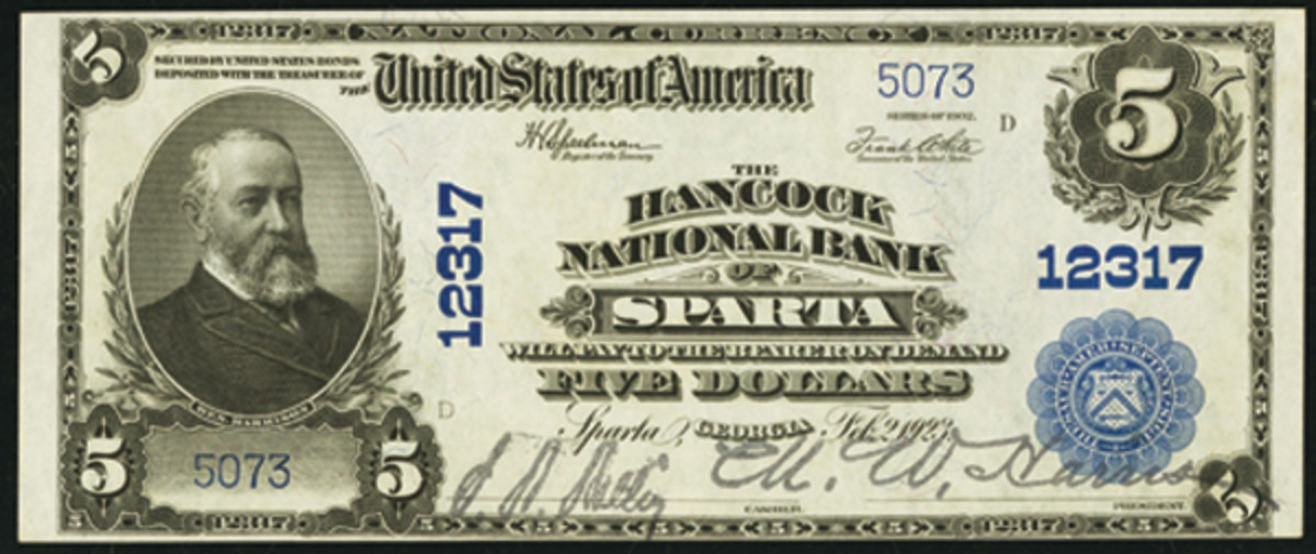 The Hancock National Bank of Sparta, named for the country, succeeded the liquidated First National Bank. A small group of high-grade notes came out in recent years, providing some excellent examples for collectors from an otherwise unavailable town. Note the bank officers signatures are the same on both the First National and Hancock National Bank notes.