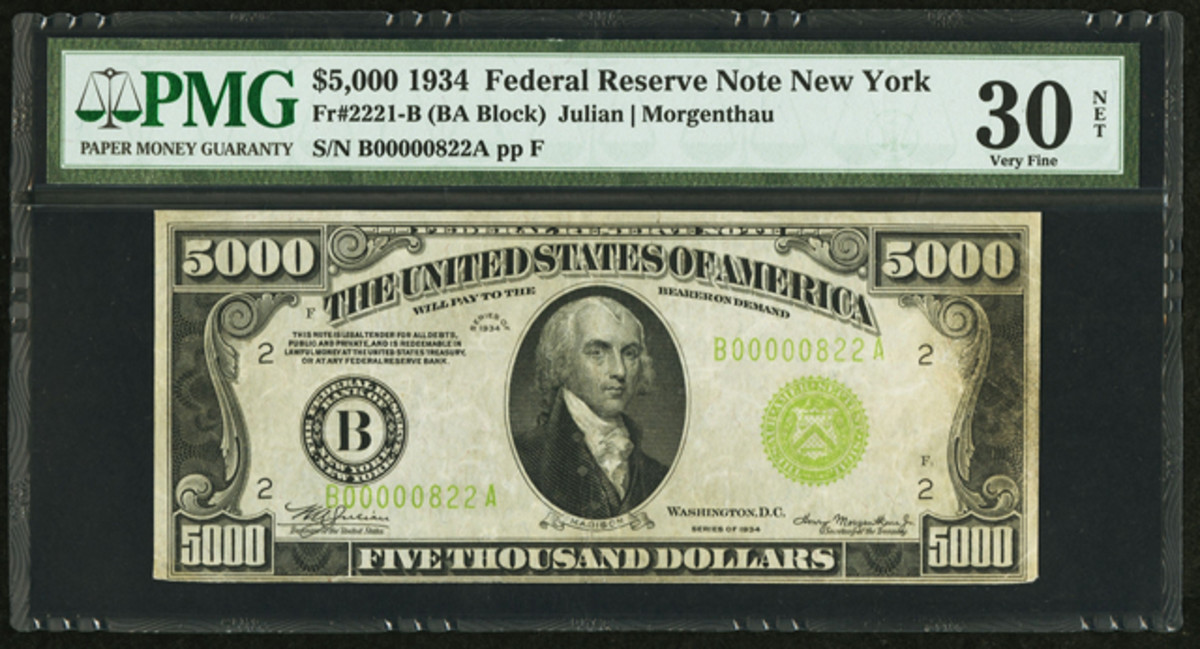 Bringing $105,750 was a 1934 $5,000 Federal Reserve Note, New York, Fr. 2221-B. It was graded PMG Very Fine 30 Net.