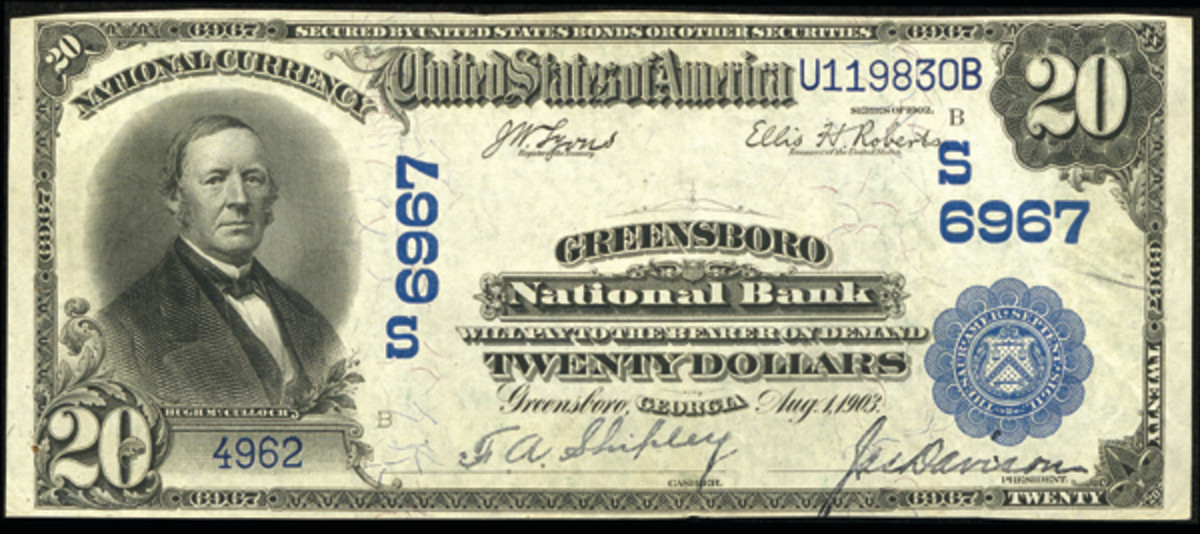 Here is a large size note from Greensboro National Bank of Greensboro, the first of the two national banks that served this town.
