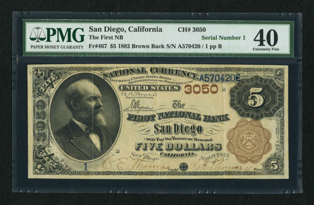 A newly discovered No. 1 $5 national on The First National Bank of San Diego, Calif. went for $76,375.
