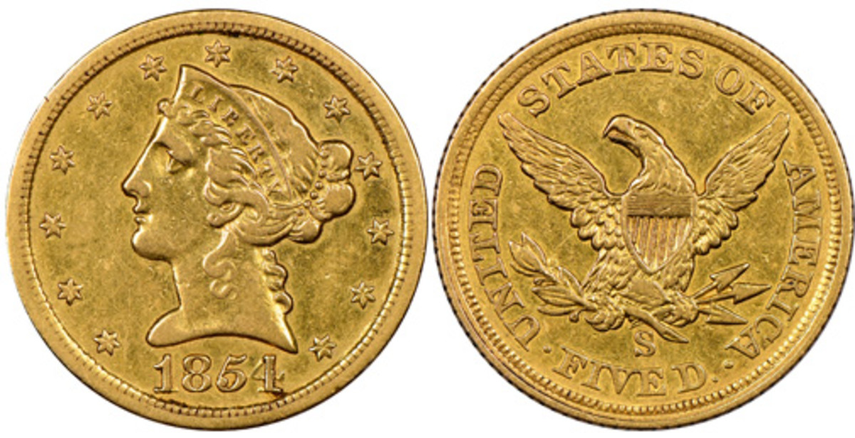 A previously unknown 1854-S gold $5 sold for $2.16 million in a Heritage auction in August.