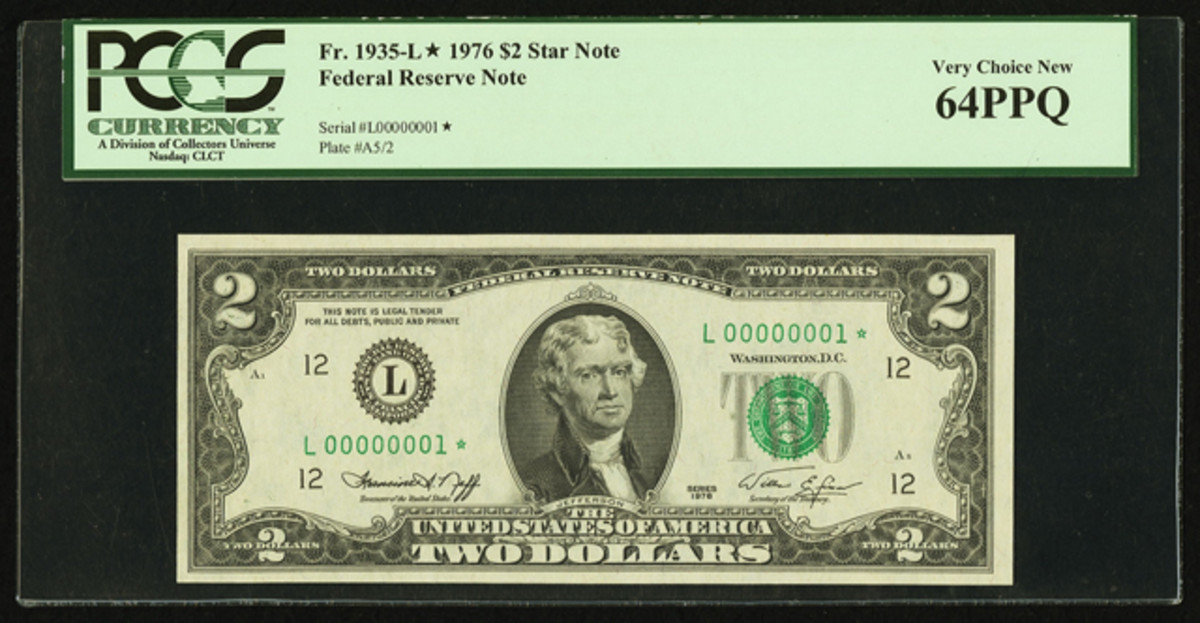 1976 $2 star Federal Reserve Note, No. 1