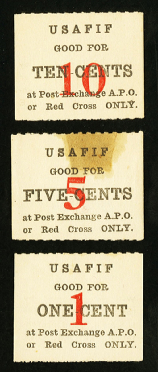 Complete set of USAFIF chits issued and used within camp in Fiji during World War II. Apart from staining from mounting tape they are in UNC condition and sold for $3,818.75.